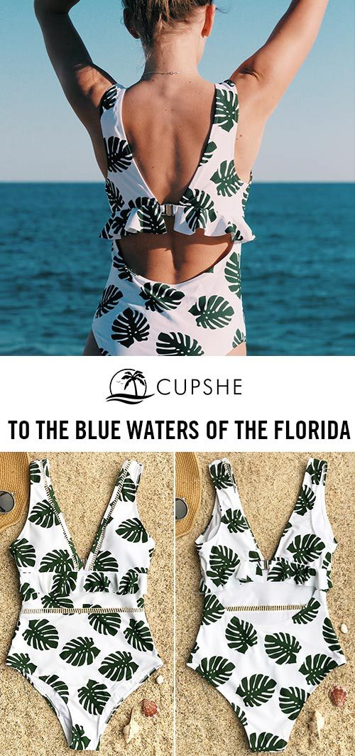 Head to the blue waters of the Florida~ This one-piece swimsuit will make you want to stay out all day long to enjoy the genial sunshine and breeze. Tropical leafy prints and decorative Ruffles gonna highlight your beauty~ Free shipping.