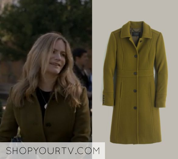 "Elsa Gardner (Jennifer Jason Leigh) wears this olive green button front trench coat in this episode of Atypical, ""That's My Sweatshirt"". It is the J Crew Italian double-cloth wool lady day coat with Thinsulate"