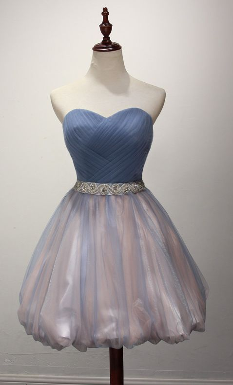 Glamorous Dusty Blue Tulle Pink Cocktail Dress Pleated