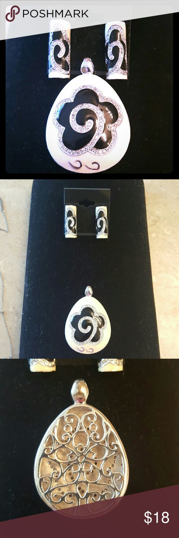 "Earrings with Pendant This set is from QVC quality workmanship.  No nice chain to go with it.  Pendant is 2"" long and 1.5"" wide.  Earrings are just over 1"" long.  Black and off white enamel on silver.  Lots of inlays Pave ceyatals. Jewelry Earrings"