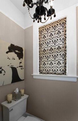 Amoroso Design - bathrooms - Ikea PJÃ?TTERYD, audrey hepburn, audrey hepburn art, audrey hepburn canvas art, taupe powder room, powder room ...