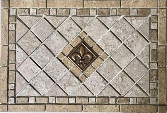 Navona Bronze Fleur Dis Lis Marrazzi Porcelain Tile Mosaic Porcelain Mosaic Tile Porcelain Mosaic Floor Medallion