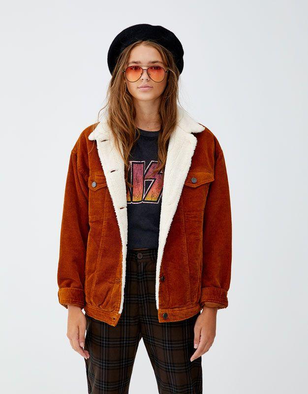 Oversized Corduroy Jacket With Faux Shearling Pull Bear Cordjacke Jacken Cordjacke Damen