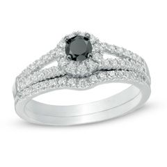 0.50 CT. T.W. Enhanced Black and White Diamond Split Shank Bridal Set in 10K White Gold  - Peoples Jewellers