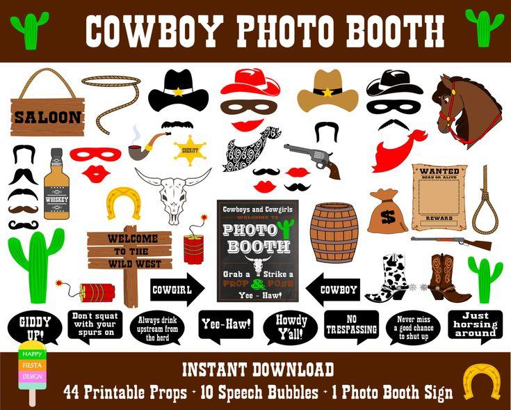 Cowboy Photo Booth Props55 Pieces44 Props10 by HappyFiestaDesign