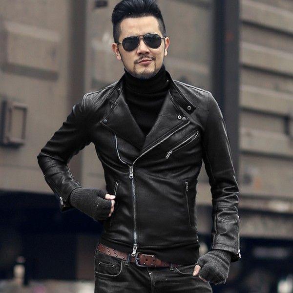 Fashion Men Slim Fit Jacket Motorcycle Biker PU Leather Jacket Coat Outwear C
