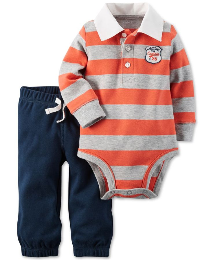 Carter's presents fun-ready style with this adorable two-piece casual set, which pairs a rugby-inspired long-sleeve bodysuit with super-soft French terry pull-on pants. | Cotton | Machine washable | I