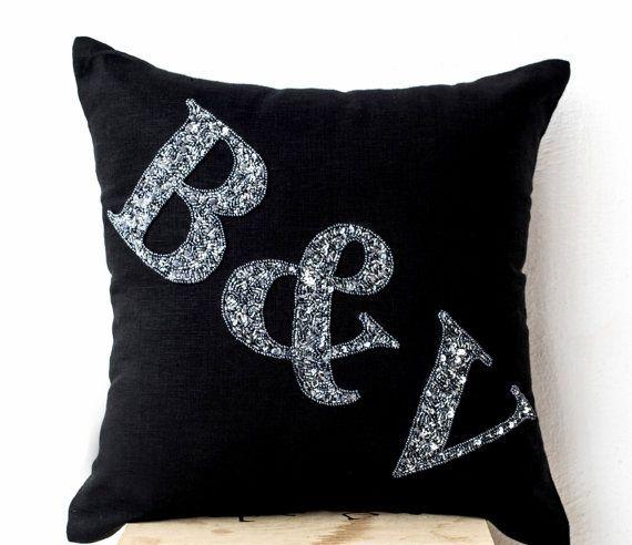Beaded Black Linen Monogram Pillow Grey Bead by AmoreBeaute