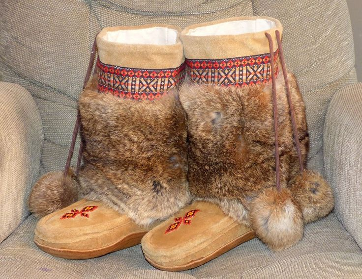 Old native American Indian beaded ceremonial fur moccasins mukluks FREE SHIP!