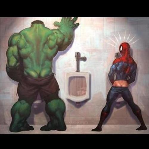 Hulk and Spiderman.