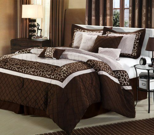 Chic Home Safari 12-Piece Bed in a Bag, Brown, Queen by Chic Home. $218.19. Set includes: comforter, bed skirt, two shams, 4-decorative pillows, flat sheet, fitted sheet, two pillowcases. Fully elasticized fitted sheet 100-percent cotton. Set is available in brown and black. 300 thread count. Machine washable. Add a contemporary touch to your bedroom decor with this chic 12-piece bed in a bag set. All-over diagonal pintuck detailing and an exotic cheetah print atop a...