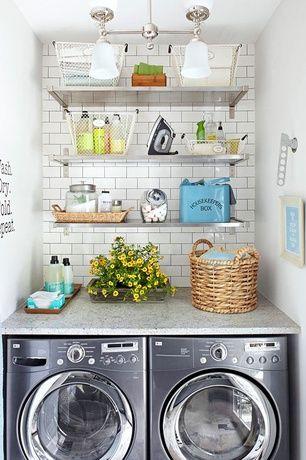 Cottage Laundry Room with Stainless Steel, Pental quartz sparkling white bc190, Ceiling light, Subway Tile, Quartz counters