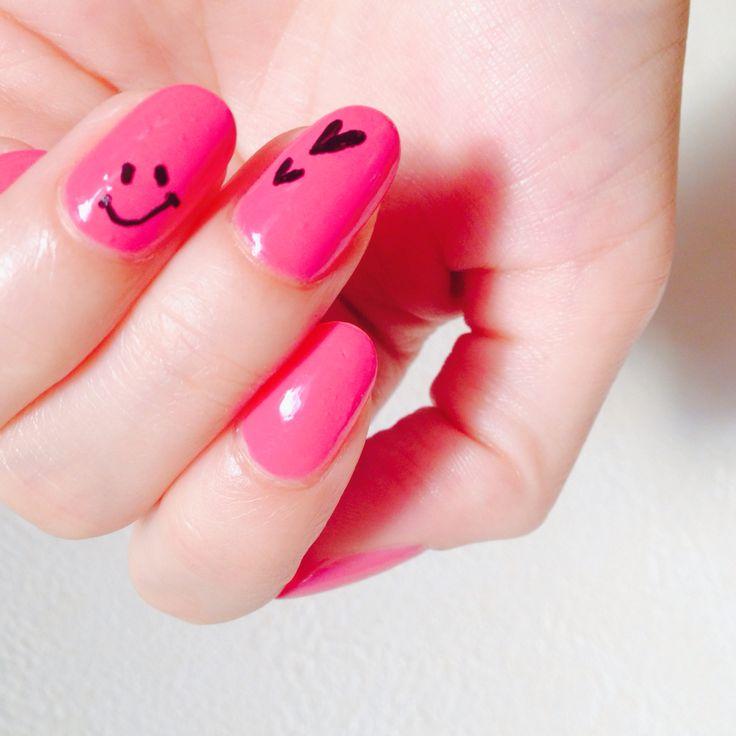 Tuesday, September 30th, 2014 フレンチ&ウォーターマーブル 落書きニコちゃんネイル♪ #ネイル #セルフネイル #nails