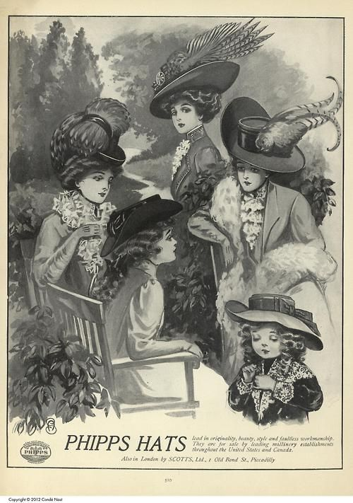 Phipps Hats Ad    Vogue, October 8, 1908     (via maindanslamaindanslamain)
