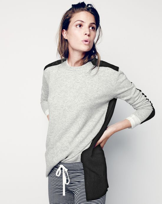 DEC '14 Style Guide: J.Crew women's colorblock tunic sweater and whisper jersey leggings in stripe.