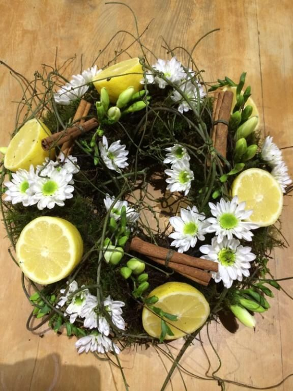 Fresh wreath with lemons and cinnamon made in class at bloom college flower basics course