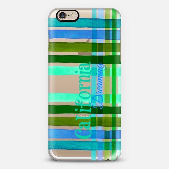 """California Dreaming Stripes 1"" by Artist Julia Di Sano, Ebi Emporium on @casetify #iphonecase #iphone5 #iphone6 #iphone6s #iphone6plus #phonecase #transparent #watercolor #california #stripes #plaid #tartan #blue #turquoise #green #aqua #summer #tech #case #samsungcase #samsunggalaxy #Casetify #EbiEmporium #typography"