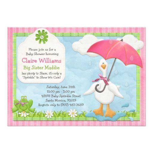 Umbrella Baby Sprinkle Shower Invitation Girl Sprinkle