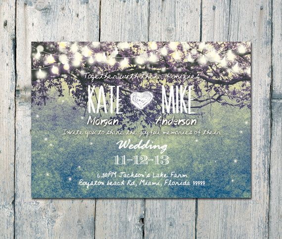 Custom listing for Belle - Digital Printable Files - Teal - Romantic Garden and Night Light Wedding Invitation, RSVP- ID210T