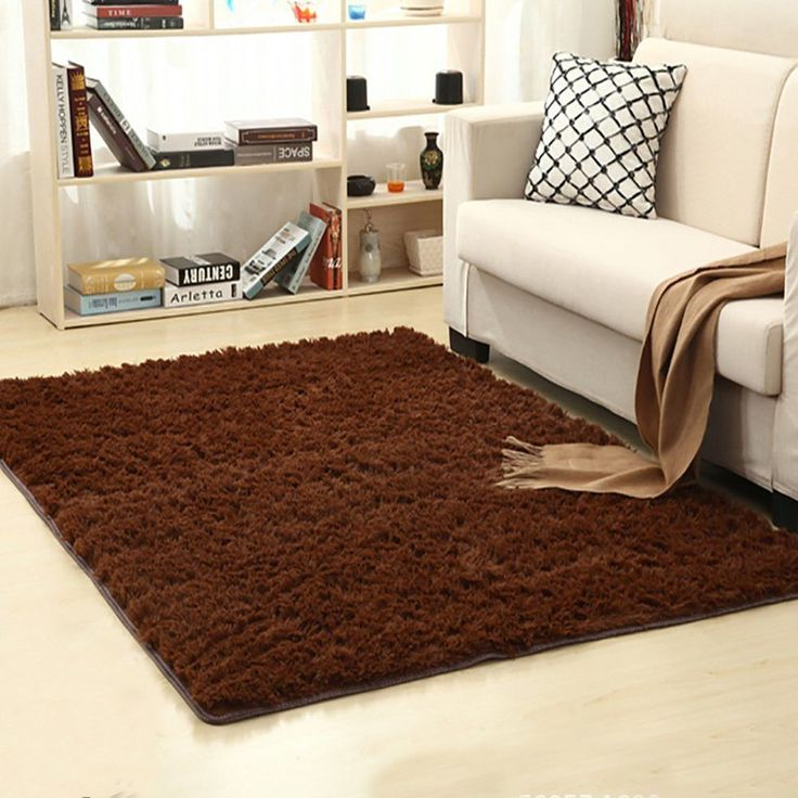 Dark Brown Shaggy Area Rug Bedroom Living Room Nursery Rug 4 feet By 5.3 Feet