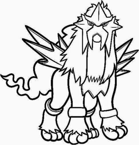 Entei Legendary Pokemon Coloring Page