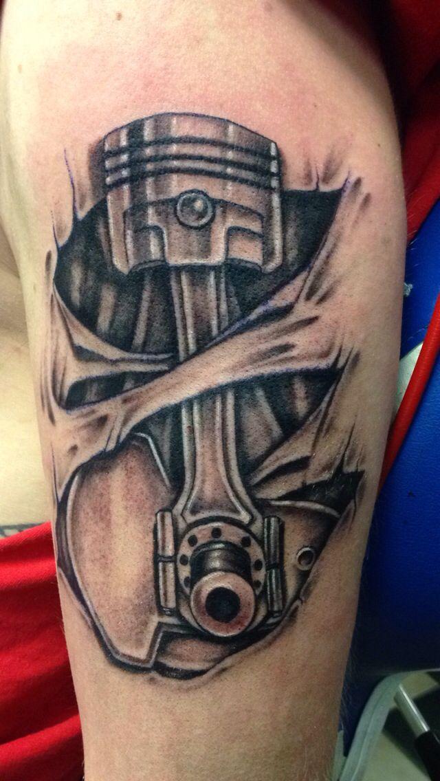 Mechanical piston tattoo skin ripping #piston #connectingrod #crankshaft