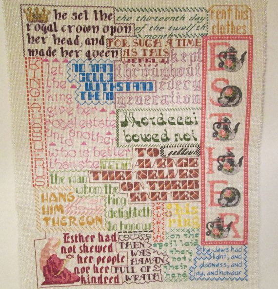 Bible Collage - Finished Cross Stitch - Book of Esther - King James - Ready to Frame - One-of-a-Kind - with Free Shipping