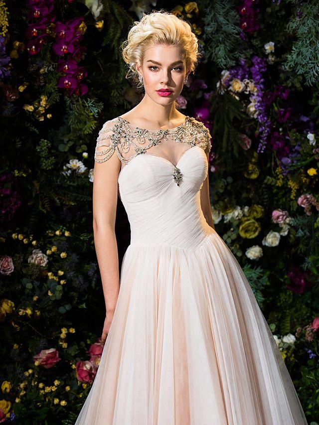 Ball Gown Jewel Court Train Tulle Wedding Dress (2310069)   LightInTheBox