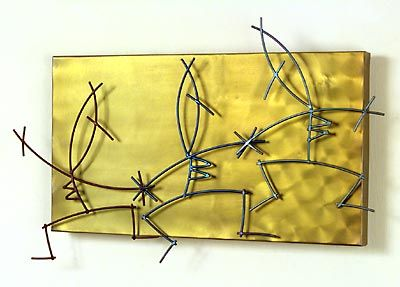 Sisters  From the Stickman Series  niobium sheet & titanium wire  12 x 21 1/2 x 2 inches