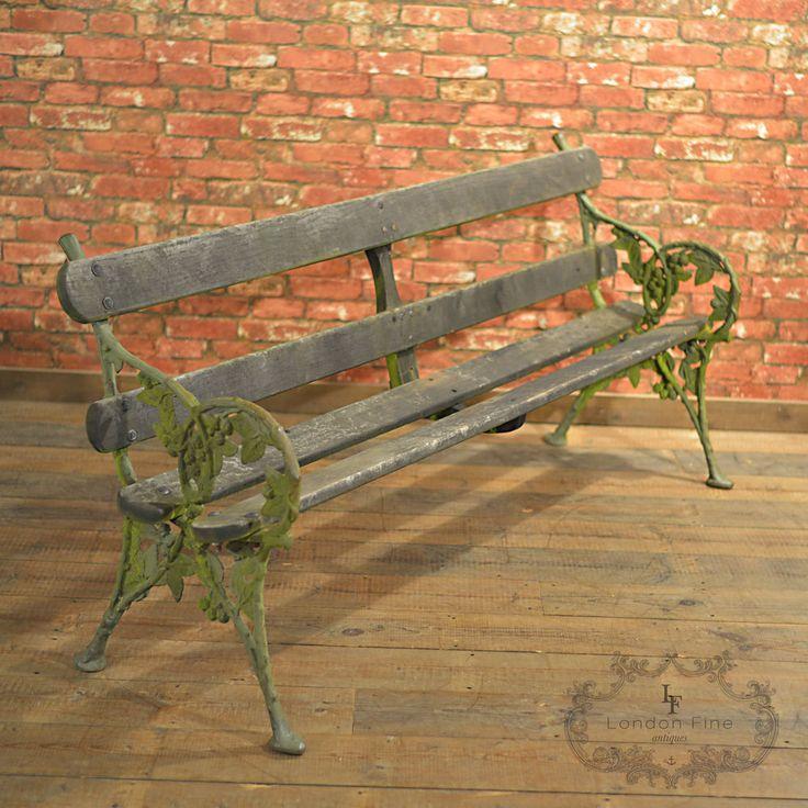 Antique Garden Bench, Falkirk Foundry Blackberry Pattern, Victorian Outdoor Seat #Victorian #Benches