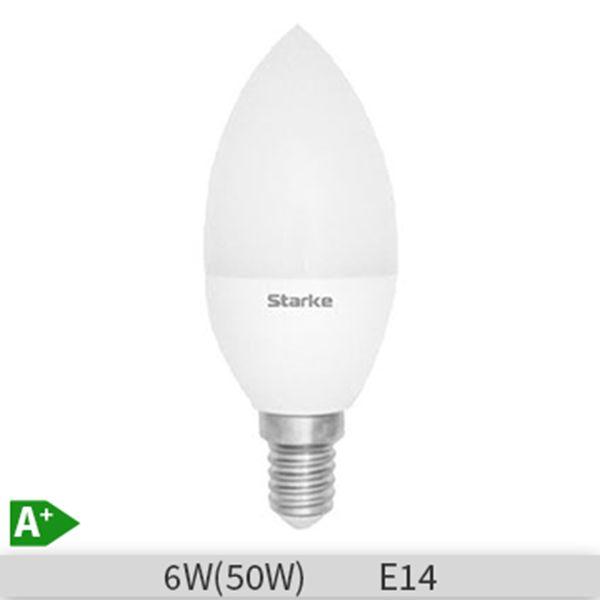 Bec LED Starke Blue forma lumanare, 6W B35 E14 6500K, lumina rece http://www.etbm.ro/tag/149/becuri-led-e14
