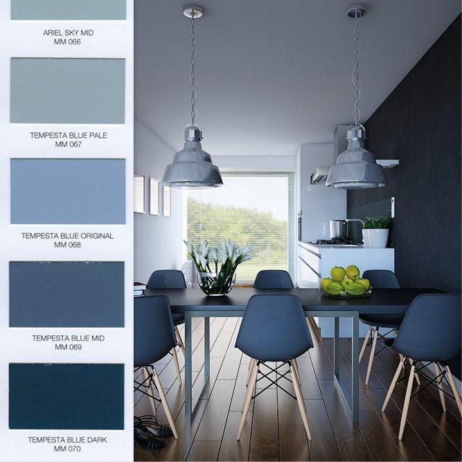 Make your #home elegant and #contemporary with all the blue shades of MATmotion, the Novacolor #matt paint for #interiors!