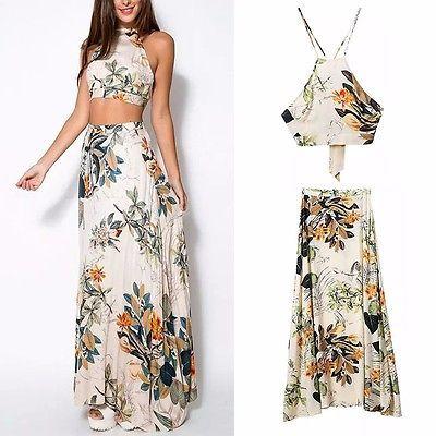 Women-Spring-Long-Maxi-Dress-Sexy-Boho-Floral-Print-2-Piece-Set-Dress