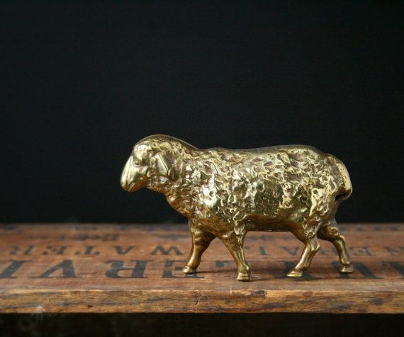 Vintage brass sheep by cristinasroom on Etsy, $28.00