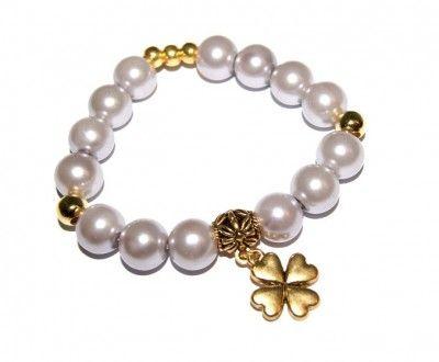 Popielata Bransoletka z Koralików Perłowych. Koniczynka #bracelet #bransoletka