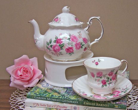 English Bone China Tea Set  Imported from England Aurora Olympia Forget Me Not Summertime Rose with TEA WARMER