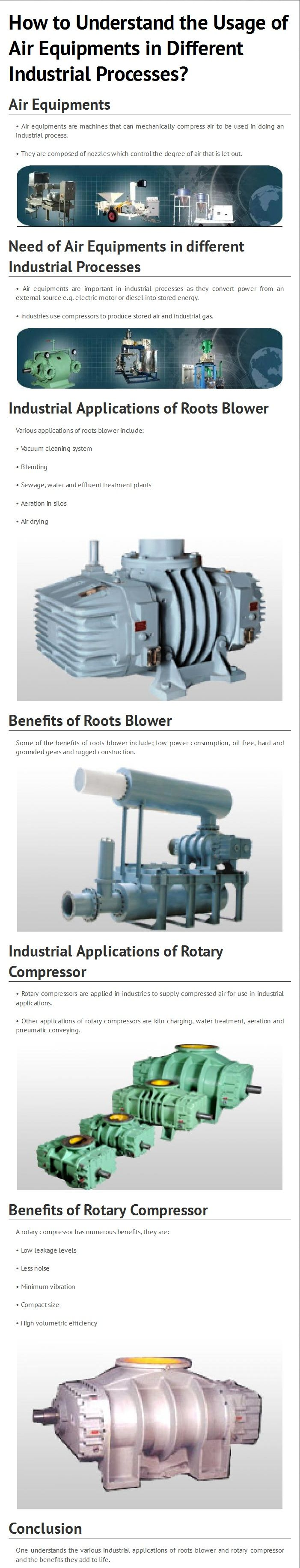 This infograph illustrates how to understand the usage of air equipments in different industrial processes including need of air equipments in different industrial processes, industrial applications of roots blower, benefits of roots blower, industrial applications of rotary compressor and benefits of rotary compressor. Get yourself more educated about the air equipments, here at - http://www.acmeairequipments.com/twin-lobe-roots-blowers-exhausters.html
