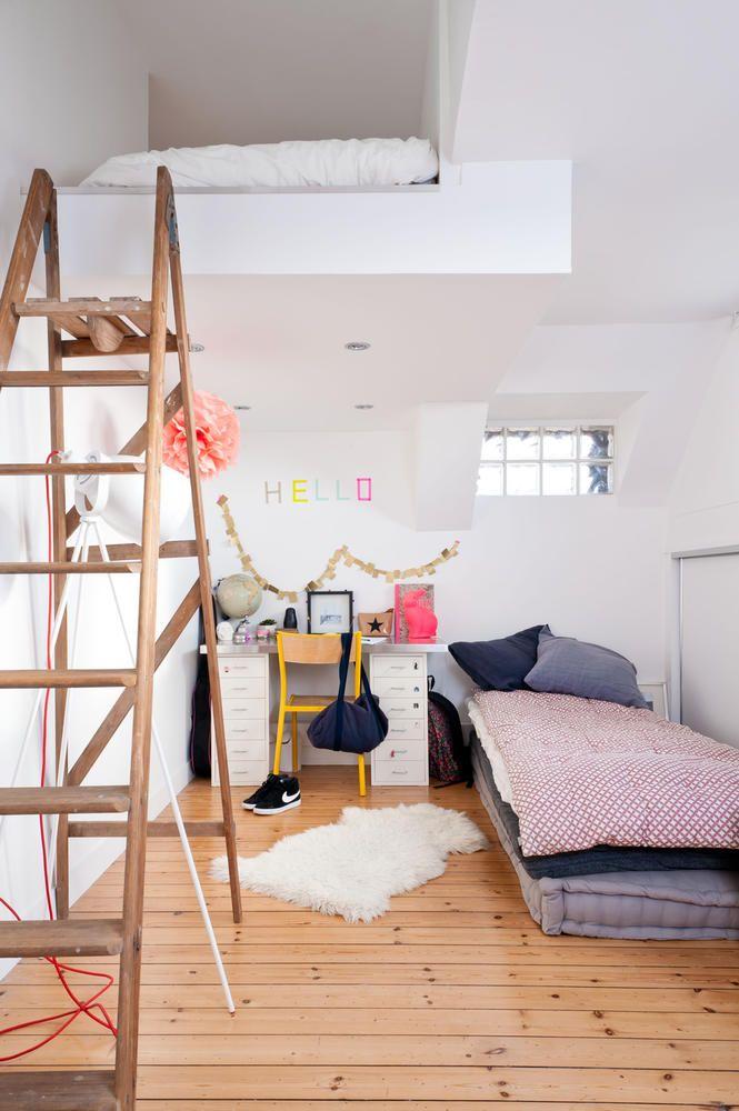 bettnische im jugendzimmer mit holzleiter bettnische holzleiter und jugendzimmer. Black Bedroom Furniture Sets. Home Design Ideas
