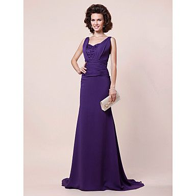 A-line Straps Sweep/ Brush Train Chiffon Evening Dress – USD $ 179.99