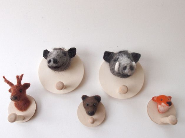 Tieres des Waldes - Hakenset, Wandhaken mit Filztieren // wall hooks with felt forest animals by aturi via DaWanda.com
