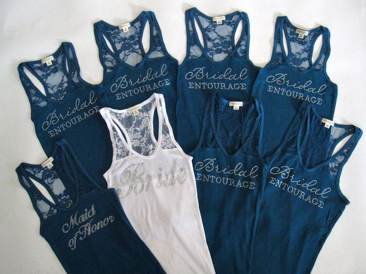 8 Bridal Entourage Tank Top Bridesmaid Shirt. Half Lace.  Team Bride, Bachelorette Party. White, Black, Blue, Purple, Pink, Yellow, Coral. $128.00, via Etsy.