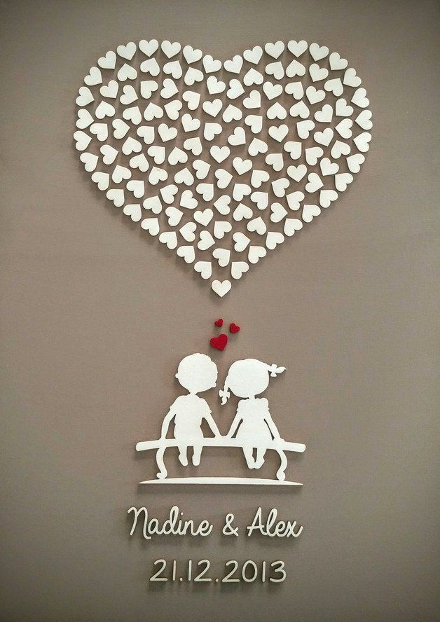 Wanddekoration zur Erinnerung an den Hochzeitstag / wall decoration for the bridal couple made by Biesenberger Beschriftungen via DaWanda.com