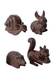 4 fajta öntöttvas antik barna állatdísz. Nyúl, sündisznó, mókus és csiga mintából lehet választani.