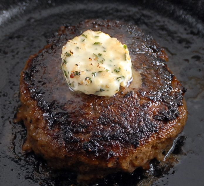 Guinness Burgers with herbed butter, or Blue Cheese