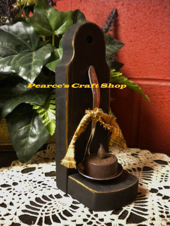 Primitive Wood Holder with Vintage Spoon and Tea Light Candle by www.PearcesCraftShop.com  Price $14.95
