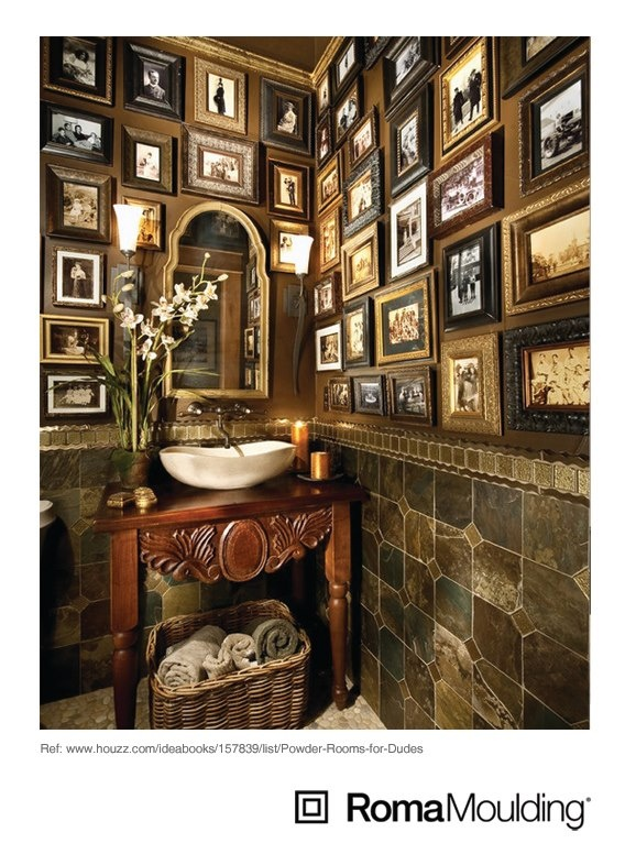 Here's a classic, old-world powder room with frames galore! This definitely has a masculine touch for dudes with style!