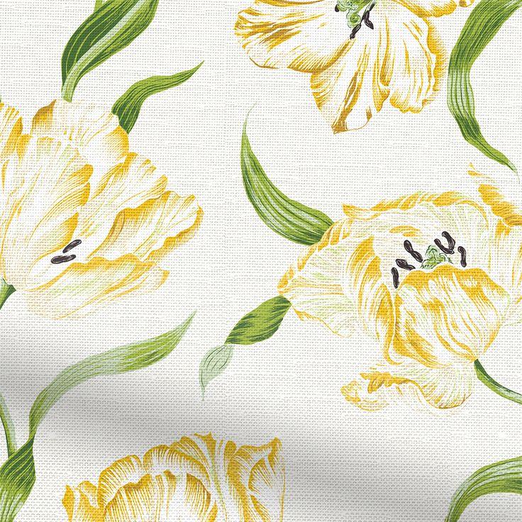 Dancing Tulips Green Roman Blind