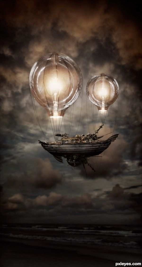 a ship carrying a bunch of junk, suspended between two . . . lightbulbs?  Giant glowing eyeballs?