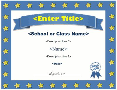 12 best sunday school certificates images on pinterest award award certificate template with a star border and award ribbon graphic the title and description yelopaper Gallery