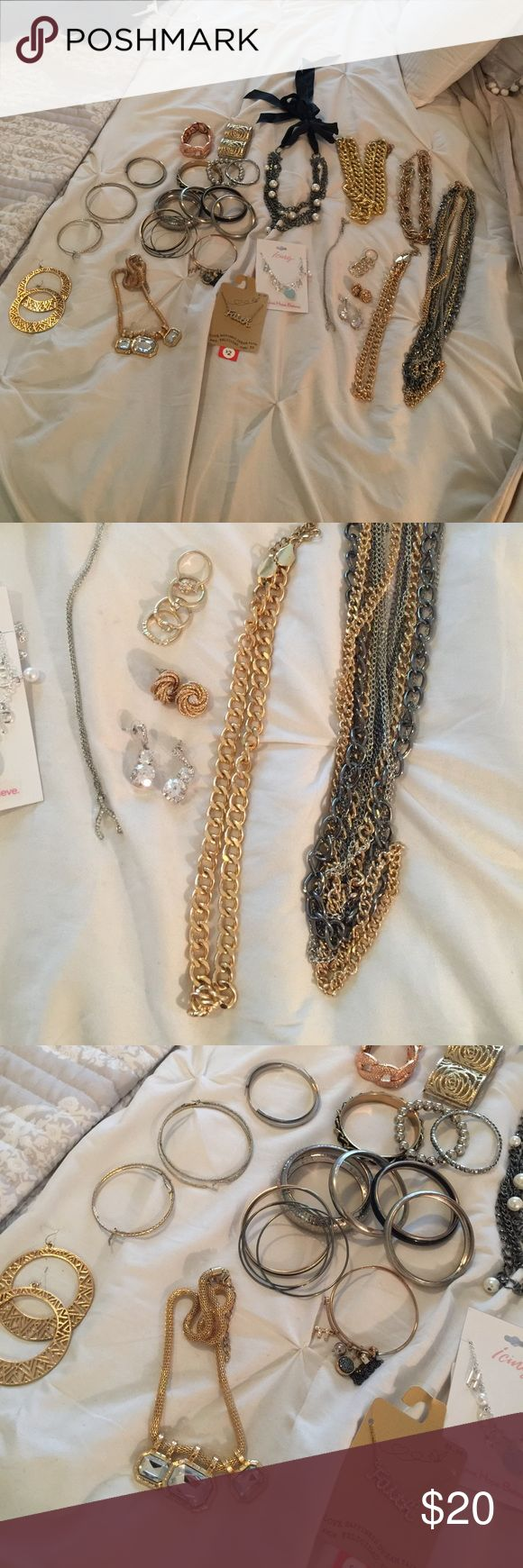 Large lot costume jewelry necklace bracelet etc Lot as pictured, most is from Charlotte Russe/forever 21 type stores most has been worn. Some tarnishing some look new Jewelry